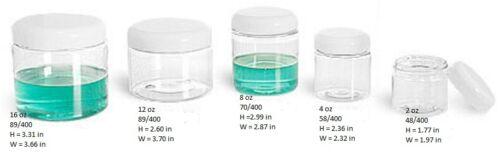 12 sets 2 oz Clear Basic Jar 48//400 PET w// CHOICE of caps 12 sets FREE SHIPP