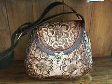 Mexican Tooled Leather ShoulderBag~Bohemian~VintageStyle~Bolsa de Piel Cincelada