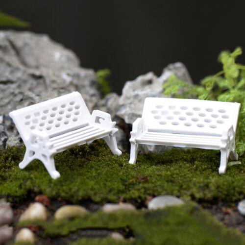 1//5pcs Garden Ornament Miniature Park Seat Bench Craft Fairy Dollhouse Decor 9UK