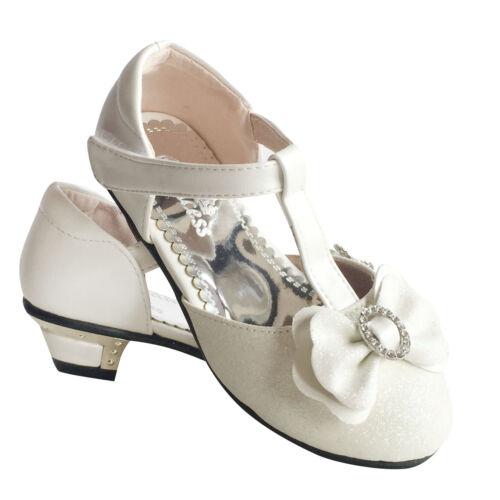 Girls kids Children Sandals Wedding Bridesmaid Party Low Heels 7-3