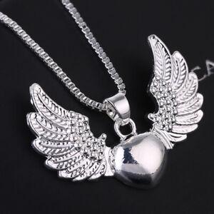 Vintage-925-Silver-Heart-Angel-Wing-Charm-Pendant-Necklace-Women-Jewelry