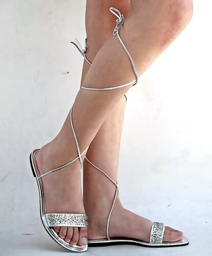 New Womens XCh3 White Gold Silver Beaded Gladiator Wrap Lace Up Flat Sandals
