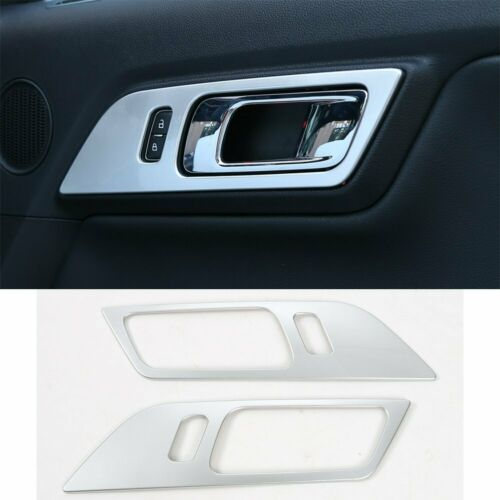 Silver Car Interior Door Handle Cover Trim Frame for Ford Mustang 2015-2018 2pcs