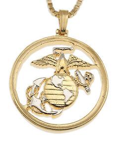 Marine-Challenge-Coin-Pendant-amp-Necklace-Hand-cut-1-034-diameter-792