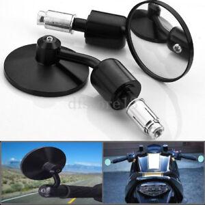 2x-7-8-034-Motorrad-Spiegel-Lenkerendenspiegel-Alu-CNC-schwarz-rund-universal-22mm
