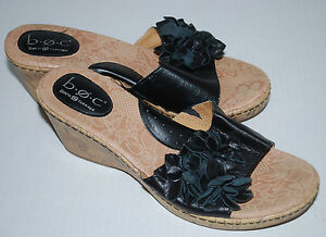 407a9784521 Born Shoes Womens 9 Black Applique Flowers Wedge Cork Heel Leather ...