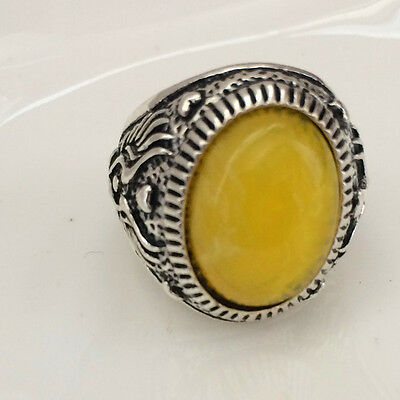 Hot Vintage woman 316L Stainless Steel Vogue Design Mini Stone Ring Size 10  !!