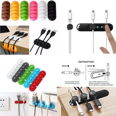 Magnetic Cable Organizer USB Charge Cable Management Winder Clips Cord Holder