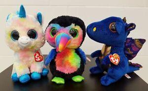 TY Beanie Boo Medium Size Beaks the Tucan Saffire the Blue Dragon ... 75bc36bbf83
