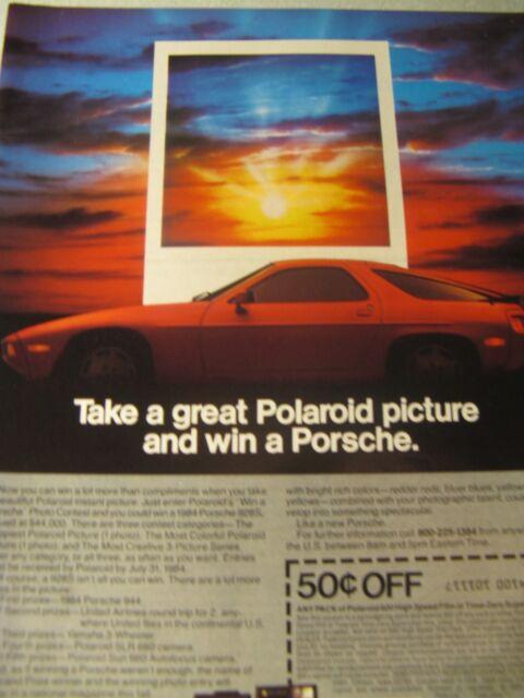"1984 Polaroid Original Print Ad-1984 Porsche 928S-8.5 x 10.5"""