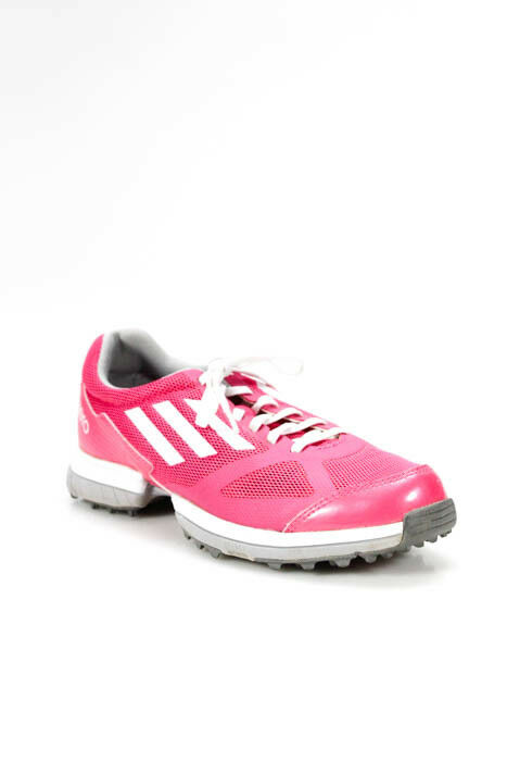 Adidas Pink White Striped Lace Up Running Sneakers Size 8 8.5