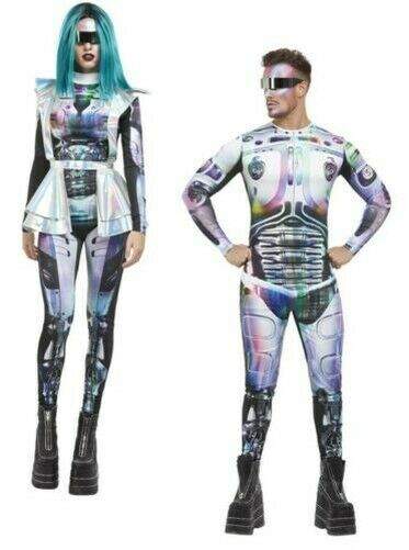 Cyber Space Alien Couples Costume Mens Ladies Lycra Skin Suit Space Outfit