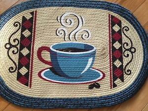 Details About Vintage Coffee Kitchen Braided Rug Country Coffee Theme Kitchen Rug