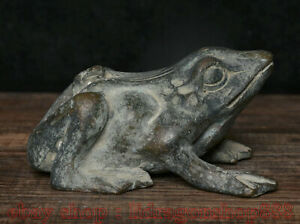 "4 ""Vieux Bronze Chinois Fengshui Animal Commun étang grenouille Statue Sculpture"