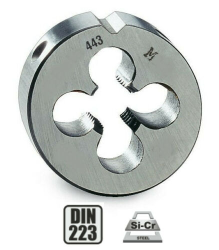 Pour cage Ø 38 mm DIN223 Filière à main HSS pas mètrique M12 x 1,5 mm