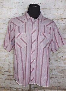 Rustler-Wrangler-Men-039-s-XXL-Striped-Short-Sleeve-Pearl-Snap-Western-Shirt-2XL