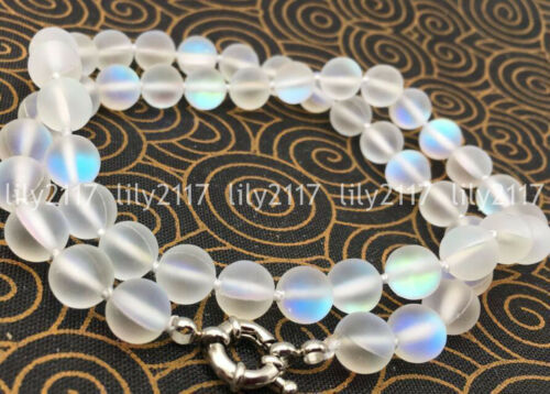 Natural 6-12mm White Gleamy Rainbow Moonstone Round Gems Beads Necklace 16-36/'/'