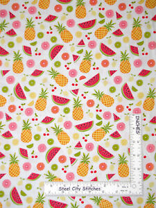 Summer-Fruit-Pineapple-Watermelon-Lime-Cotton-Fabric-Contempo-Studio-By-The-Yard
