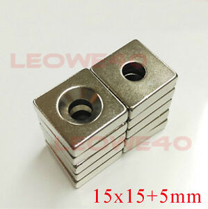 Strong-Square-Magnet-15mm-x-15mm-Rare-Earth-Neodymium-5mm-Hole-No-722