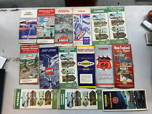Vintage Lot of 15 Gas Station Travel Road Maps Gulf Esso Cities Sunoco Amoco Etc