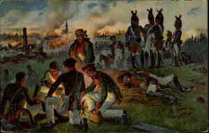 Militaer-amp-Militaria-Voelkerschlacht-1813-Postkarte-Brand-von-Bischofswerda-War-AK
