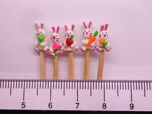 1-12-Hand-Made-Polymer-Rabbits-5-On-A-Stick-Dolls-House-Miniature-Nursery-Toy2