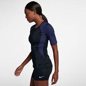 aec7b4e953ff Nike Pro HyperCool Women s Short Sleeve Training Top XS Black Blue ...