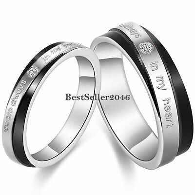 """"""" You Are Always In My Heart """" Couples Stainless Steel Promise Ring Wedding Band"""