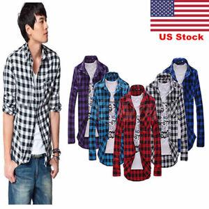 US-Mens-Plaid-Flannel-Lumberjack-Tartan-Check-Shirt-Brushed-Cotton-Casual-Tops