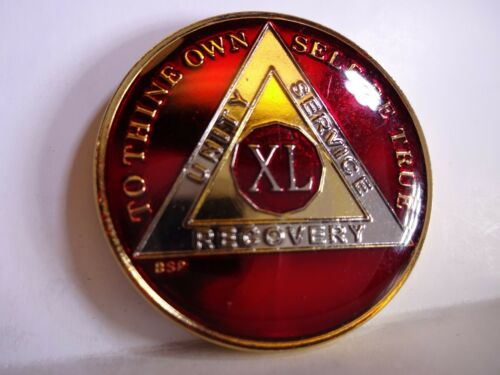 AA BSP Red Gold 40 Year Coin Tri-Plate Alcoholics Anonymous Medallion Top Grade