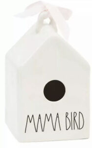 """Rae Dunn By Magenta Square Mama Bird Birdhouse With Two Birds Icon 8.5"""" x 5"""""""