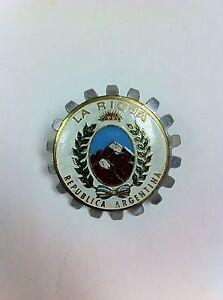 Vintage-La-Rioja-Argentina-Automobile-Motorcycle-Grille-Badge-609E