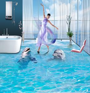 3D Romantic Dolphin 7 Floor WallPaper Murals Wall Print 5D AJ WALLPAPER UK Lemon