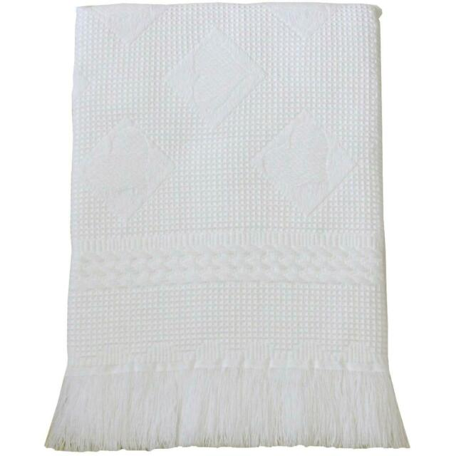 BabyPrem Baby Large Soft White Acrylic Hearts Shawl Blanket 122 x 122cm White