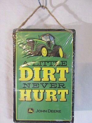 John Deere Wall TIN SIGN  ~~ Dirt never hurt ~~  KIDS SHOP Tractor FARM/& RANCH