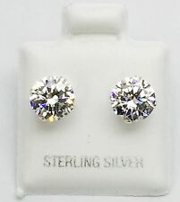 925 Sterling Silver Stud Earrings With Man Made Diamond 6 Mm