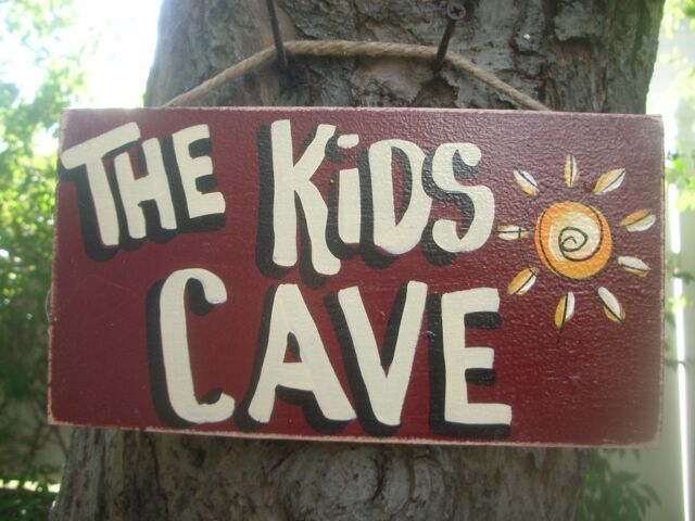 THE KIDS CAVE MAN AMERICAN COUNTRY WOOD RUSTIC PRIMITIVE HANDMADE SIGN PLAQUE