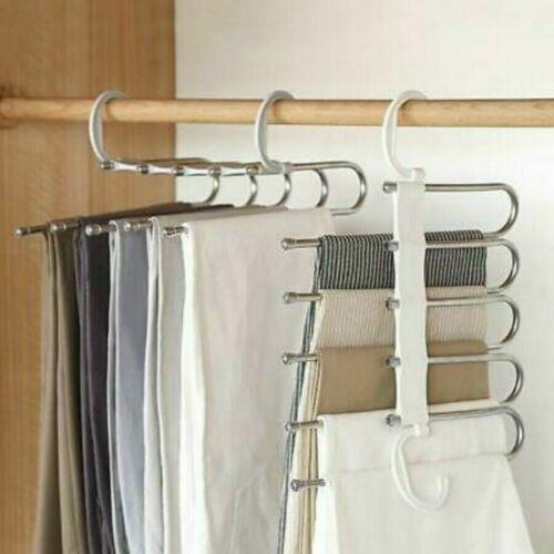 Multi-Layer Clothes Pants Trouser Hanger Storage Rack Closet Wardrobe Organizer