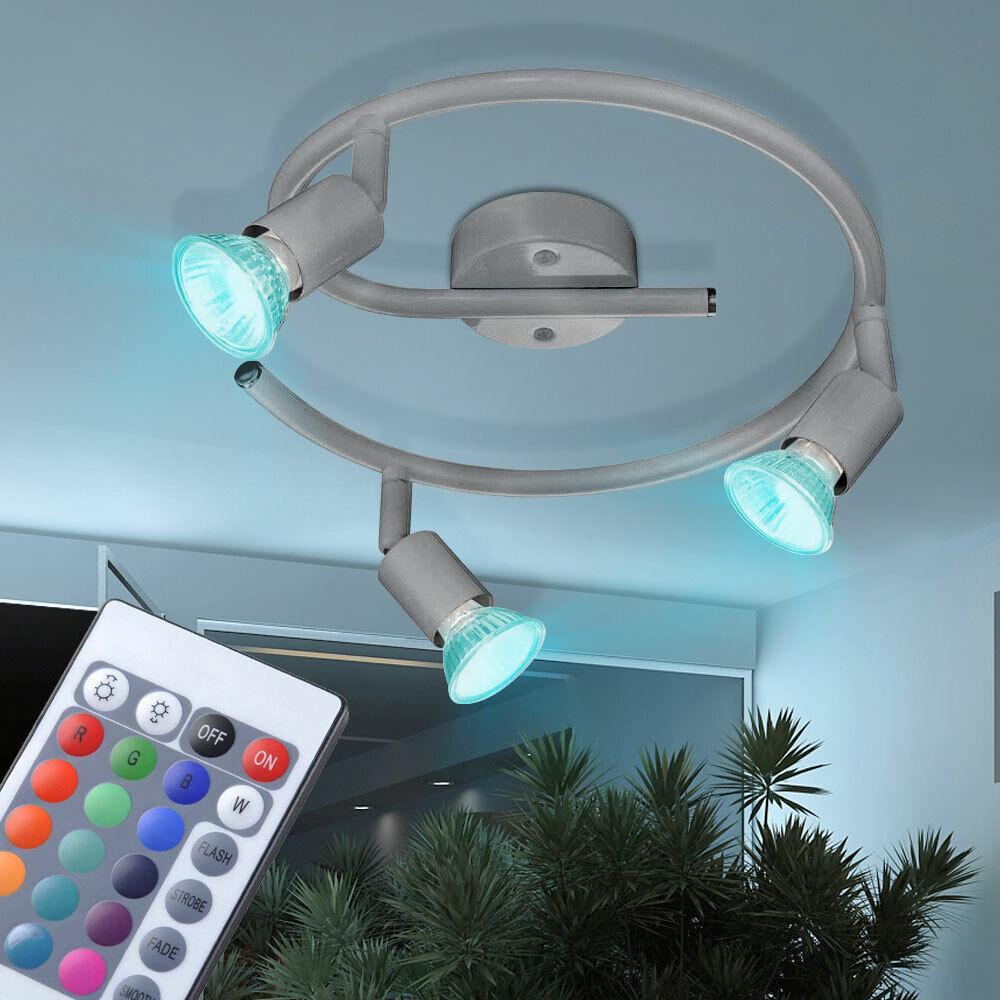 RGB LED Decken Leuchte Dimmer Rondell Lampe silber Fernbedienung Living-XXL