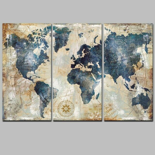 Vintage World Map Abstract Art 3 PCS Canvas Printed Wall Poster Home on world maps history, world maps religion, old world map sale, world maps france, world maps software, world map globe sale, world maps games, world maps art, world maps furniture, world maps books,