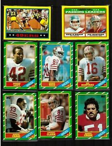 1986-SAN-FRANCISCO-49ers-Team-Set-16-Topps-Football-Cards-w-161-JERRY-RICE-RC