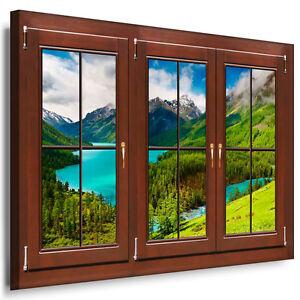 Blick aus dem fenster poster  Leinwand Bild Fenster blick N01 Baum Sonnenuntergang Kunstdrucke ...