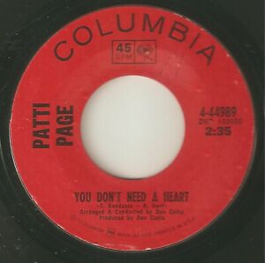 PATTI PAGE You Dont Need A Heart COLUMBIA  TEDDY RANDAZZO NORTHERN SOUL USA 45