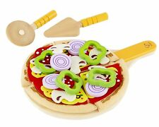 Childs Wooden Toy HOMEMADE PIZZA SET Wood NEW HAPE 31pce 3+