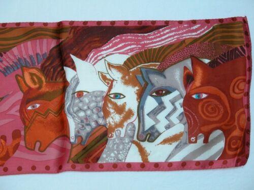 New 100/% Silk Oblong Scarf Art Painting Horses Salmon