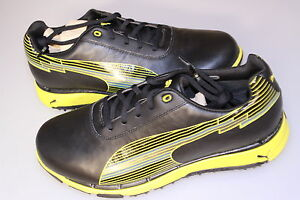 Puma-Faas-Trac-Golf-Shoes-Waterproof-Leather-Black-Fluorescent-Yellow-7-1-2-13