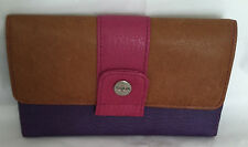 Rolfs Designer Womens Clutch Checkbook Leather Wallet in Camel Purple Pink Color