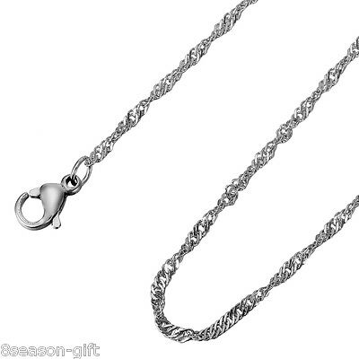 5PC Dull Silver Tone Stainless Steel Chain Necklace Diy Jewelry 65cmx2mm