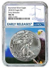 2018 American Silver Eagle NGC Ms70 Blue Er Label Blue Core
