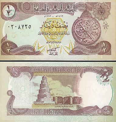 IRAQ 3 PCS SET 1//4-1//2-1 DINAR UNC 1992-1993 P 77 78 79